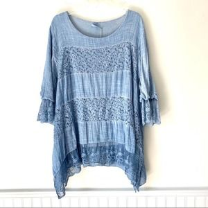 Shyloh Made In Italy One Size Blue Tunic Blouse